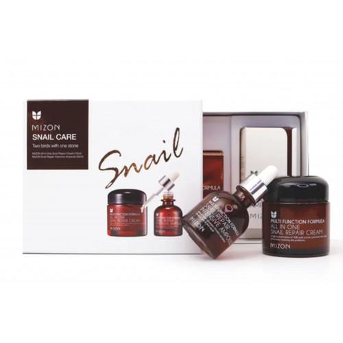 Mizon Snail Repair Ampoule & Cream Set Подарочный набор средств с муцином улитки