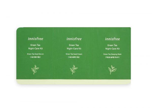 Innisfree Green Tea Night-Care Kit Набор пробников с зеленым чаем для ночного уход