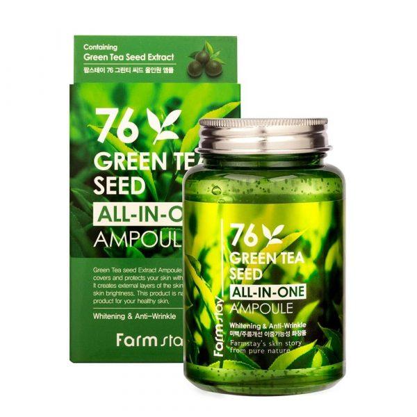 FarmStay 76 Green Tea Seed All In Ampoule Сыворотка с семенами зеленого чая, 250 мл