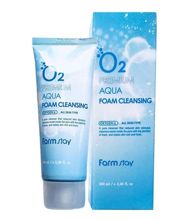 FarmStay O2 Premium Aqua Foam Cleansing Кислородная пенка для умывания, 100 мл