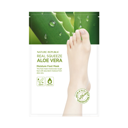 Nature Republic Real Squeeze Aloe Vera Moisture Foot Mask Увлажняющая маска для ног с экстрактом алоэ вера